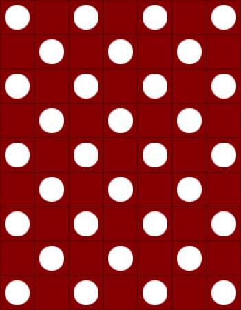 Rood met witte stippen
